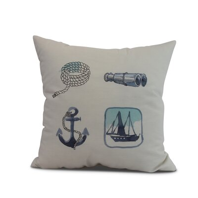 Harriet Sea Tools Throw Pillow Color: Ivory, Size: 26 x 26