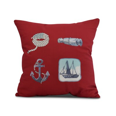 Harriet Sea Tools Throw Pillow Color: Red, Size: 16 x 16