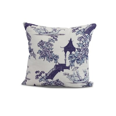 Hirst China Old Floral Print Indoor/Outdoor Throw Pillow Color: Navy Blue, Size: 16 x 16
