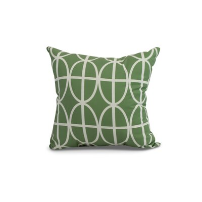 Crosswhite Ovals and Stripes Geometric Print Indoor/Outdoor Throw Pillow Color: Green, Size: 18 x 18
