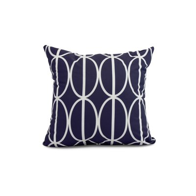 Crosswhite Ovals Go Round Geometric Print Indoor/Outdoor Throw Pillow Color: Navy Blue, Size: 16 x 16