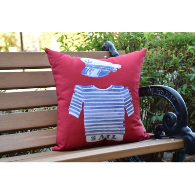Crider Captain Shirt Print Indoor/Outdoor Throw Pillow Color: Red, Size: 20 x 20