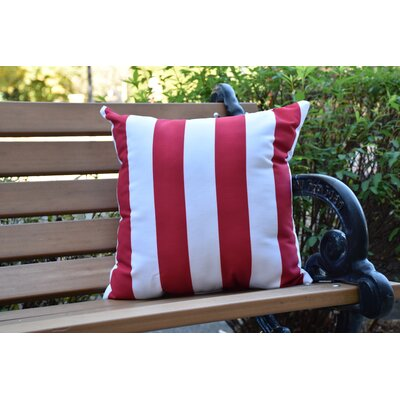 Crider Stripe Print Indoor/Outdoor Throw Pillow Color: Red, Size: 16 x 16
