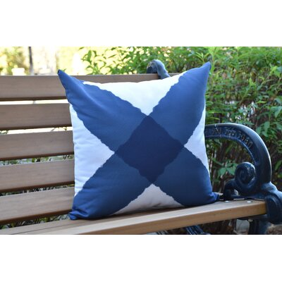 Crider X Marks the Spot Geometric Print Indoor/Outdoor Throw Pillow Color: Navy, Size: 18 x 18