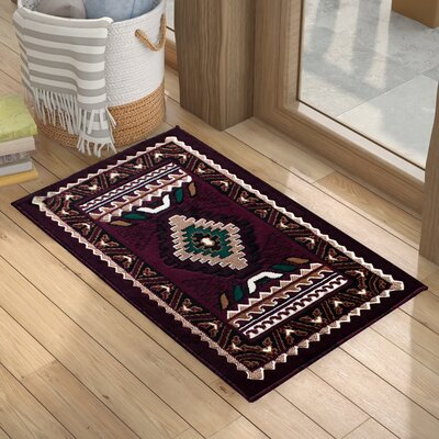 Iberide High-Quality Woven Southwest Doormat Color: Burgundy