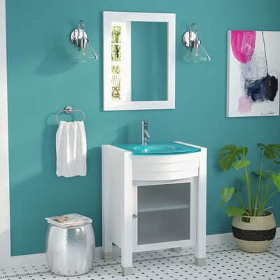 Blakes 24 Single Bathroom Vanity Set with Clear Top and Mirror Base Finish: White, Faucet Finish: Polished Chrome