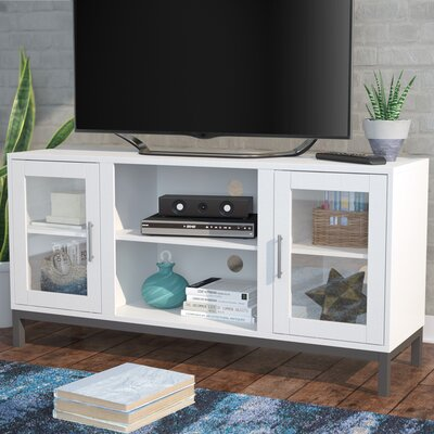 Depp Wood 52 TV Stand with Optional Fireplace Color: White, Fireplace Included: No