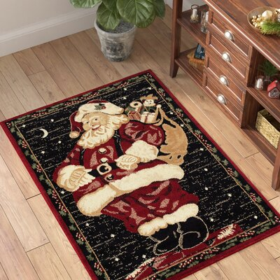 Holiday Christmas Santa Claus High Quality Woven Red Area Rug