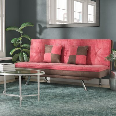 Louella Fabric Sleeper Sofa with 2 Pillows Upholstery: Red