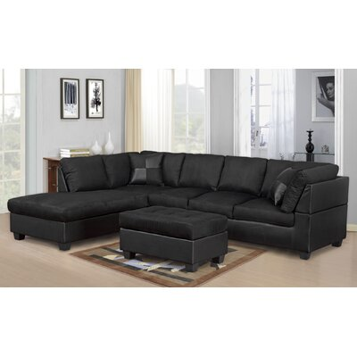Hiett 3 Piece Living Room Set Upholstery: Black