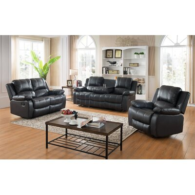 Ugalde 3 Piece Living Room Set Upholstery: Black