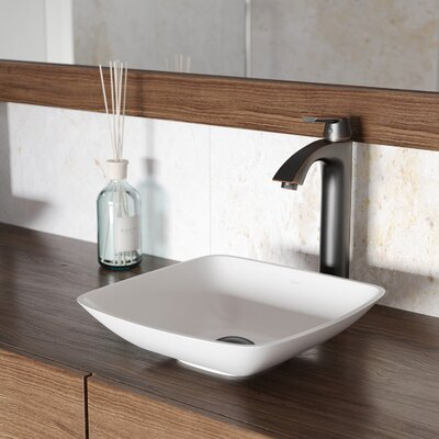 Hyacinth Matte Stone Square Vessel Bathroom Sink