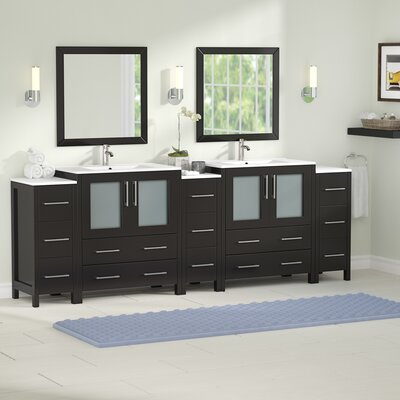 Karson Modern 96 Double Bathroom Vanity Set with Mirror Base Finish: Espresso