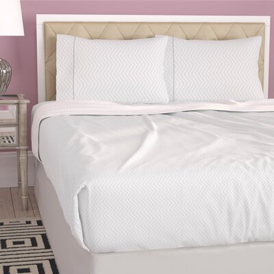 Dollard Double-Brushed Chevron Sheet Set Size: King, Color: White
