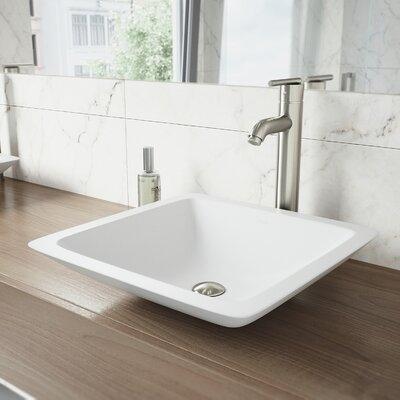 Begonia Matte Stone Square Vessel Bathroom Sink with Seville Faucet