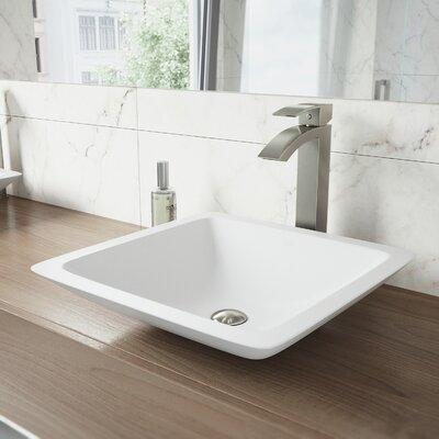 Begonia Matte Stone Square Vessel Bathroom Sink