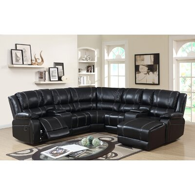 Ulrich Reclining Sectional Upholstery: Black