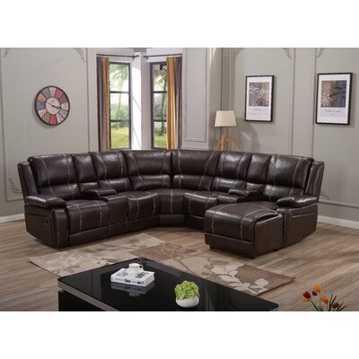 Ulrich Reclining Sectional Upholstery: Brown