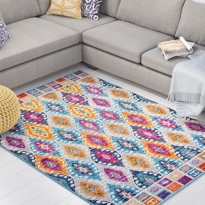 Parsons Pink/Blue Indoor Area Rug Rug Size: Rectangle 67 x 96