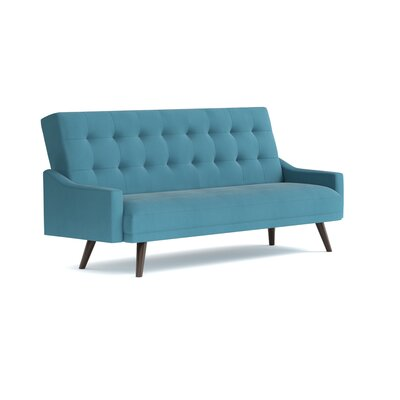 Oakland Click Clack Futon Reclining Sofa Bed in Velvet Upholstery: Turquoise