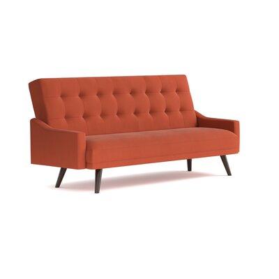 Oakland Click Clack Futon Sofa Bed in Velvet Upholstery: Orange