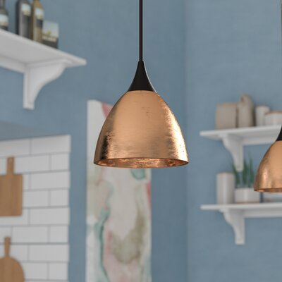 Cavan Cord 1-Light Mini Pendant Base Finish: Bronze, Shade Color: Gold, Bulb Type: 50W Halogen