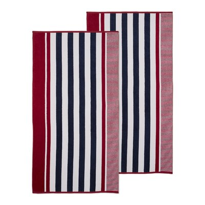 Oversized Striped Beach Towel Color: Baked Apple