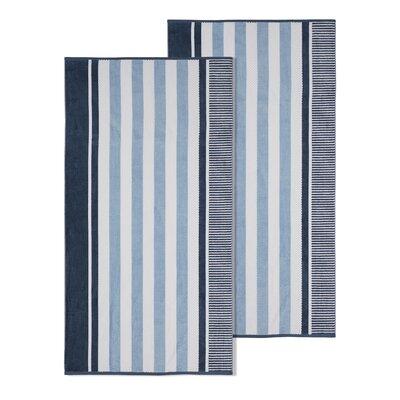 Oversized Striped Beach Towel Color: Dusky Blue