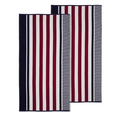 Oversized Striped Beach Towel Color: Aqua Blue
