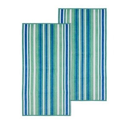 Rope Textured 2 Piece Beach Towel Set Color: Atlantis