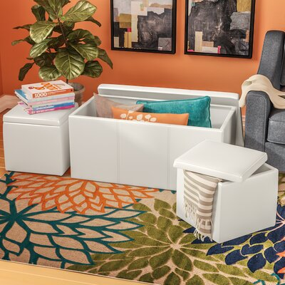 Elverton 3 Piece Storage Ottoman Set Upholstery: White