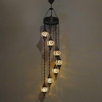 Ellzey 7-Light LED Cluster Pendant Shade Color: Brown