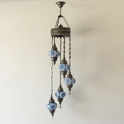 Ellzey 5-Light LED Cluster Pendant Shade Color: Blue