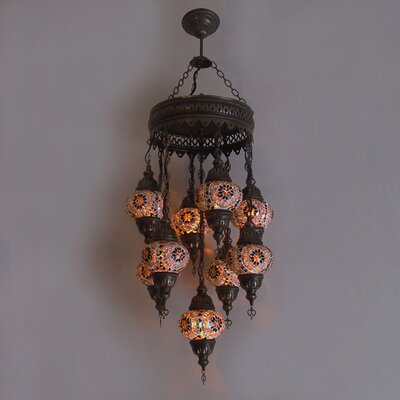 Ellzey 9-Light LED Cluster Pendant Shade Color: Brown