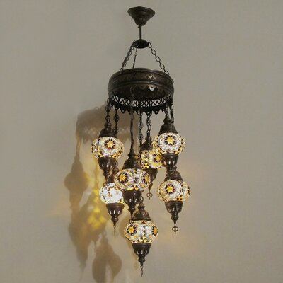 Ellzey 7-Light LED Cluster Pendant Shade Color: Brown