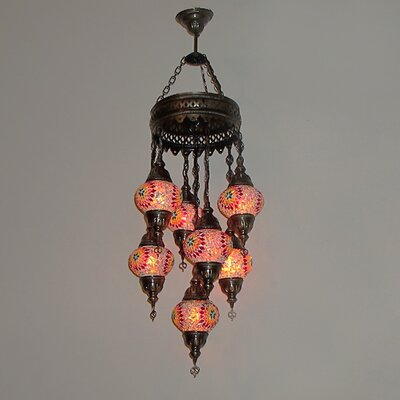 Ellzey 7-Light LED Cluster Pendant Shade Color: Flame