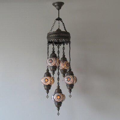 Ellzey 5-Light LED Cluster Pendant Shade Color: Brown