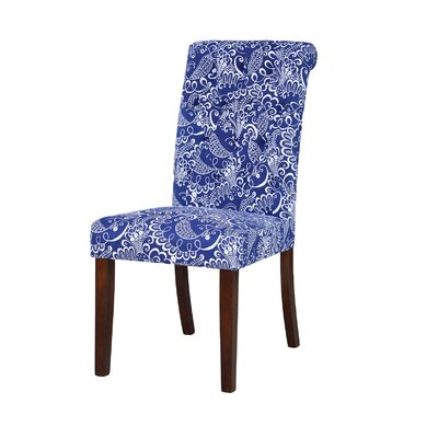 Hambly Upholstered Dining Chair Upholstery Color: Blue/White