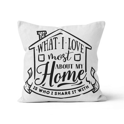 Runolfson What I Love Most About My Home Throw Pillow Size: 16 x 16