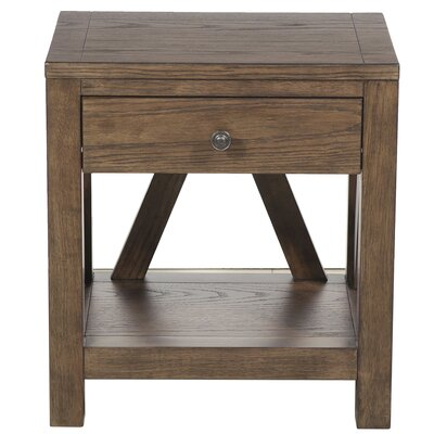 Neace Farmhouse Style 1 Drawer End Table
