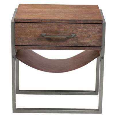 Larosa Industrial Style Acacia Wood End Table