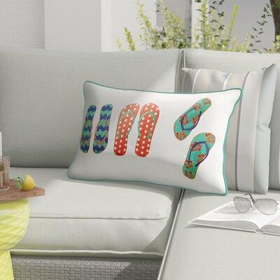 Lawton Flip Flops Outdoor Sunbrella Embroidered Lumbar Pillow