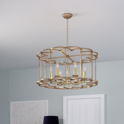 Delana 6-Light Bronze Fusion Candle-Style Chandelier