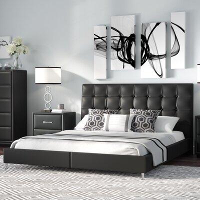 Gabrielle Queen Upholstered Platform Bed Color: Black