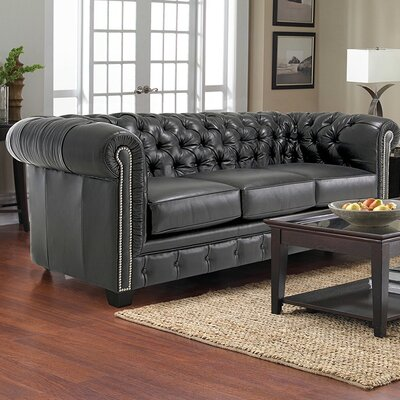 Cheung Tufted Leather Chesterfield Sofa Upholstery: Black