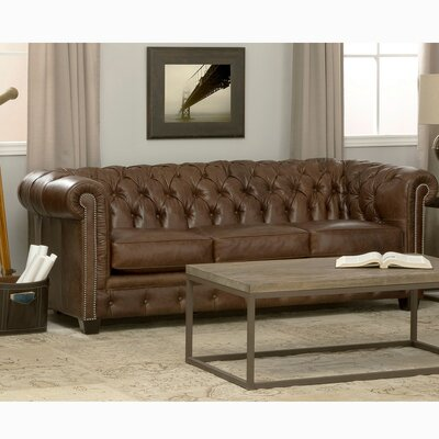 Cheung Tufted Leather Chesterfield Sofa Upholstery: Dark Brown