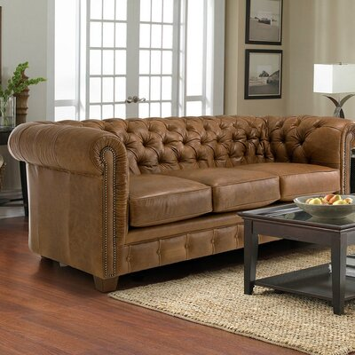 Cheung Tufted Leather Chesterfield Sofa Upholstery: Light Brown