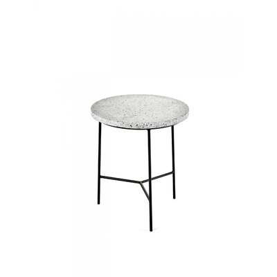 Timmerman Terrazzo End Table Table Base Color: Black, Table Top Color: Gray