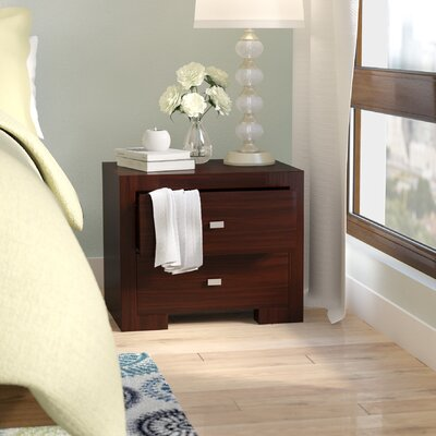 Bruges 2 Drawer Nightstand Color: Wenge