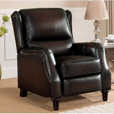 Aguiar Wingback Leather Manual Recliner
